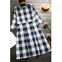 Fancy Women's A-Line Dress Plaid Pattern Round Neck Pleated Half Sleeves Regular Fitted A-Line Dress