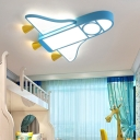 Creative Kids Jet Shaped Ceiling Lamp Metal Nursery LED Flush Mount Lighting in Pink/Blue