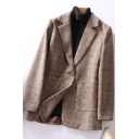 Trendy Ladies Blazer Plaid Printed Long Sleeve Lapel Neck Regular Fit Blazer Top