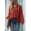 Trendy Womens Hoodie Blouson Sleeve Button Up Relaxed Fit Plain Hoodie