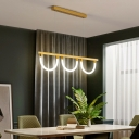 Semicircle Acrylic Island Lighting Post-Modern Black/Gold LED Hanging Pendant in White/3 Color Light/Remote Control Stepless Dimming