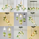 Single Teardrop/Rectangle/Round Pendant Light Nordic Wooden Black/White Ceiling Hang Lamp with Clear Glass Plant Pot