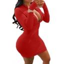 Womens Popular Dress Long Sleeve Deep V-neck Zipper Front Mini Tight Plain Dress