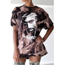 Hip Hop Pink Tee Top Figure Pattern Short Sleeve Crew Neck Cut-out Loose T Shirt for Girls