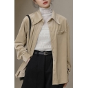 Leisure Women's Shirt Blouse Solid Color Chest Pocket Point Collar Button Fly Regular Fitted Shirt Blouse
