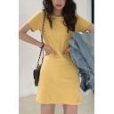 Basic Women's T-Shirt Dress Solid Color Round Neck Short Sleeves Regular Fitted Mini T-Shirt Dress