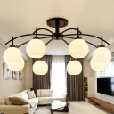 3/5/8 Heads Dome Close to Ceiling Lamp Retro Black Opal Glass Semi Flush Mounted Light Fixture