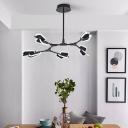 Branch Shaped Rotating Pendant Light Nordic Acrylic 5/6/8-Light Living Room Chandelier in Black/White
