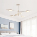 Burst Design Oval Chandelier Postmodern Metal 6/8-Head Black/White/Gold Hanging Lamp for Bedroom, Small/Large