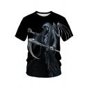 Fashion Mens T Shirt Skull 3D Print Short Sleeve Crew Neck Regular Fit Tee Top