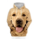 Cute Hoodie Dog 3D Printed Long Sleeve Drawstring Relaxed Fit Hoodie with Pocket