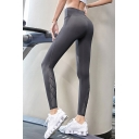 Girls Gym Plain Leggings High Waist Patchwork Quick Dry Ankle Fitted Leggings