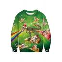 Leisure Boys Sweatshirt Dinosaur Cat 3D Print Long Sleeve Crew Neck Relaxed Pullover Sweatshirt