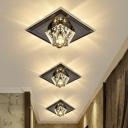 Gem Shaped Corridor Flush Light Crystal Minimalist LED Ceiling Mounted Lamp in Black/Clear/Tan, Warm/White Light/Third Gear