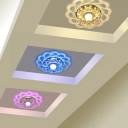 Contemporary Floral Flush Light Fixture Clear Crystal Hallway LED Ceiling Light in Warm/Multi-Color Light, 9/11w