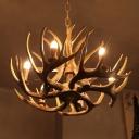 4/6/15 Lights Resin Hanging Lamp Farmhouse White/Brown Antler Bedroom Chandelier Pendant Light