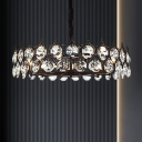 Faceted Cut Crystal Round/Rectangle Pendant Modern 6/8/14-Bulb Black Chandelier Light Fixture, Small/Medium/Large