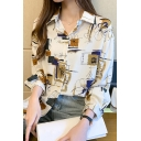 Unique Women's Shirt Floral Geometric Pattern Button-down Long Sleeves Spread Collar Regular Fitted Shirt Blouse