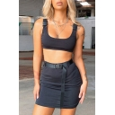 Trendy Women's Set Solid Color Buckle Strap Square Neck Sleeveless Slim Fitted Crop Top with High Rise Skirt