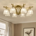 Brass 3/8/10 Heads Flush Chandelier Modern Clear Textured Glass Bell Semi Flush Ceiling Light