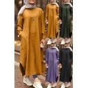 Basic Women's T-Shirt Dress Solid Color Side Pockets Side Split Round Neck Long-sleeved Loose Fitted Long T-Shirt Dress