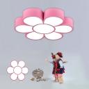 Red/Pink/Blue Flower Flushmount Light Kids Style Acrylic LED Ceiling Lamp for Nursery School