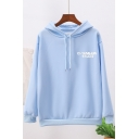 Pretty Girls' Long Sleeve Drawstring Letter EVIL Embroidery Relaxed Fit Cute Hoodie