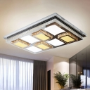 Rectangular Living Room Ceiling Lighting Clear Crystal Modern LED Flushmount with Checkered Design