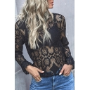 Ladies Sexy See-through Lace Floral Long Sleeve Mock Neck Fitted Blouse Top in Black
