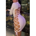 Fancy Women's Bodycon Dress Solid Color Hollow out Lace up Detail Mock Neck Long-sleeved Slim Fitted Bodycon Dress