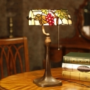 Green Grape and Leaf Piano Lamp Tiffany Single Stained Glass Pull Chain Bankers Table Light