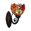 Tiffany Flower Blossom Wall Light Kit 1-Light Handcrafted Art Glass Wall Lamp in Black