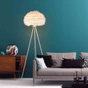 White Tripod Floor Lamp with Feather Shade