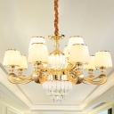 Handmade White Glass Taper Hanging Lamp Modern Style 6/8/12-Head Gold Chandelier Light Fixture