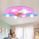 Rainbow Cloud Wooden Flushmount Light Cartoon 6 Bulbs Pink Ceiling Light Fixture for Nursery
