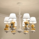 Tapered Fabric Hanging Light Fixture Cartoon 3/5/6 Bulbs White Chandelier with Yellow Bear Deco