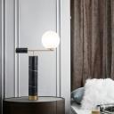 Designer Ball Shaped Night Light Milky Glass Single Living Room Table Lamp with Marble Column in Black