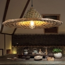 Straw Hat Ceiling Pendant South East Asia Bamboo 1-Light Restaurant Hanging Light Fixture in Wood