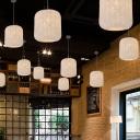 Cylindrical Rattan Pendant Ceiling Light Asian 1-Light Black/White/Red Hanging Light Fixture for Restaurant