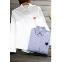 Stylish Womens Shirt Stripe Sweetheart Print Button-down Point Collar Long Sleeves Regular Fitted Shirt Blouse