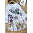Fashionable Women's Blouse Contrat Panel Floral Print V Neck Round Neck Long Sleeves Relaxed Fit Pullover Blouse
