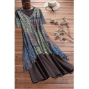 Trendy Womens Contrast Panel Tribal Pattern Button Front V Neck Short Sleeves Regular Fitted Dress