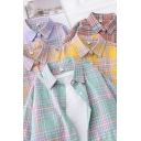 Casual Womens Shirt Plaid Pattern Long Sleeve Point Collar Button Up Loose Shirt Top