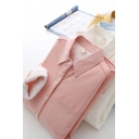 Simple Womens Shirt Sherpa Liner Solid Color Long Sleeve Point Collar Button-up Relaxed Shirt Top
