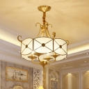 Gold Candle Pendant Chandelier Traditional Metal 4 Bulbs Dining Room Ceiling Hang Light with Wave-Trimmed Frost Glass Shade