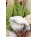 Leisure Women's Fur Coat Solid Color Front Pocket Zip Fly Long Sleeves Regular Fitted Bear Ear Hooded Coat
