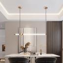 PVC Horizontal/Vertical Pendulum Light Simplicity Black/Gold LED Ceiling Pendant Lamp over Table, Small/Large