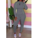Trendy Womens Co-ords Contrast Piped Long Sleeve Mock Neck Fitted T Shirt & Skinny Pants Set