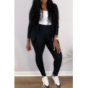 Simple Set Plain Long Sleeve Regular Fit Jacket & Skinny Pants Set for Women