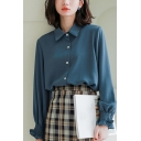 Casual Women's Shirt Blouse Solid Color String Selvedge Embellished Button Fly Point Collar Long Sleeves Regular Fitted Shirt Blouse